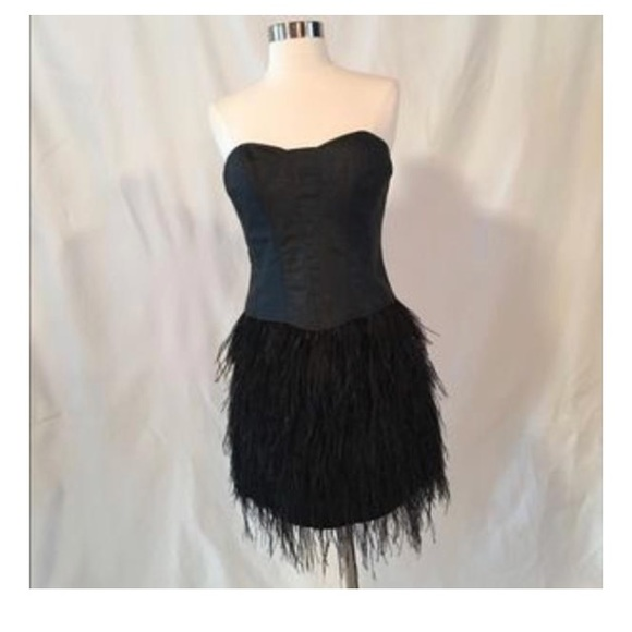 73c5ac63bb8 Betsey Johnson Dresses | Black Feather Corset Mini Dress | Poshmark